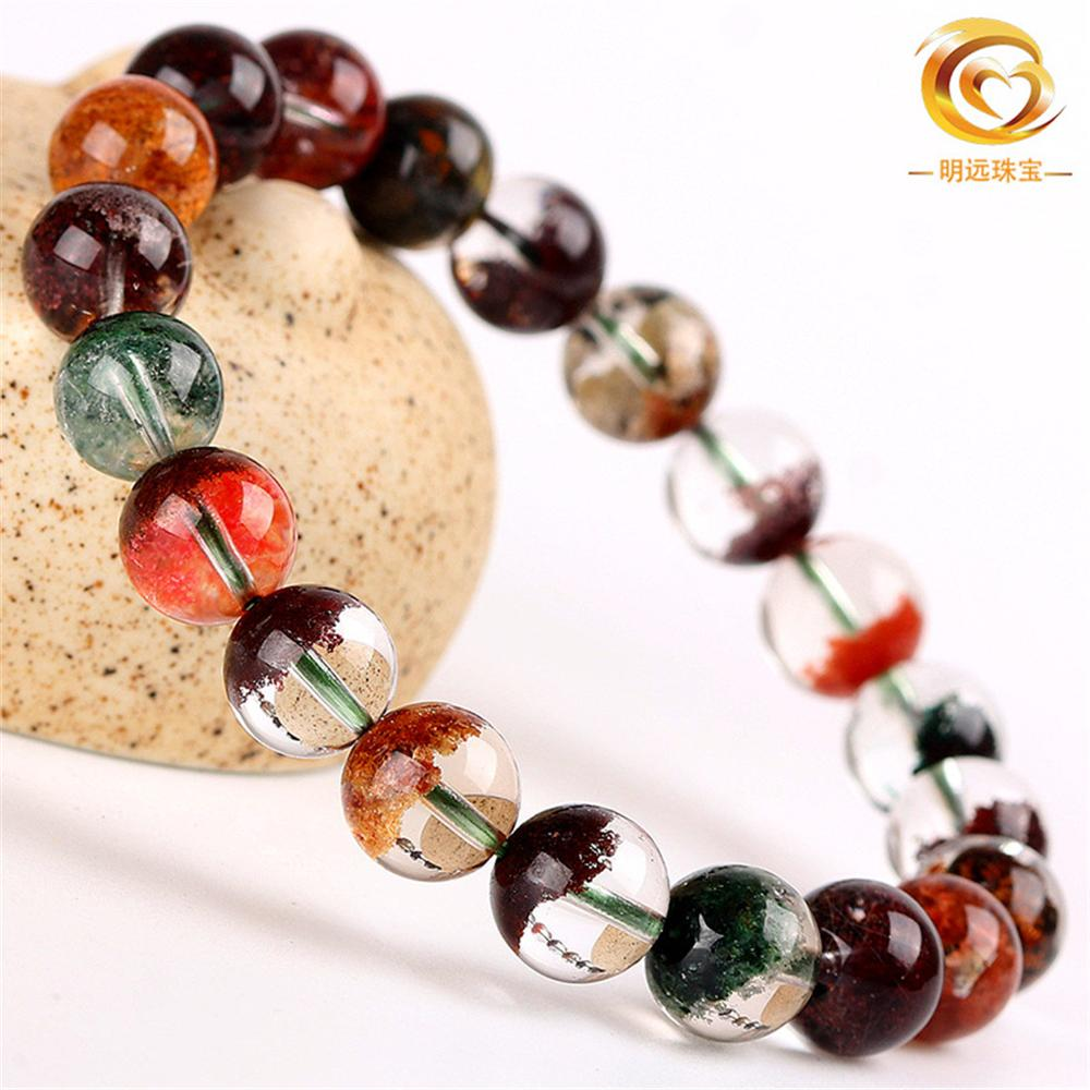 Top Natural Colorful Phantom Quartz Bracelet For Woman Man Stretch Crystal Round Beads Jewelry 6mm 7mm 8mm 9mm 10mm 11mm 12mm