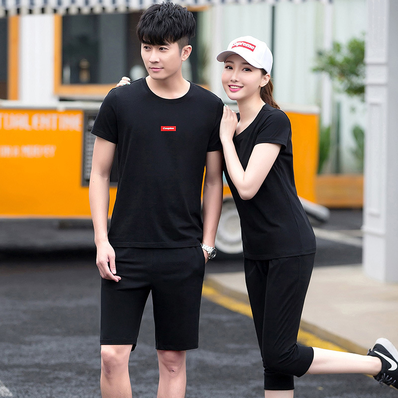2019 Leisure Sports Suit Male Two-Piece Couple Clothes Men Korean-style Trend Comfortable Jogging Suits Summer Youth