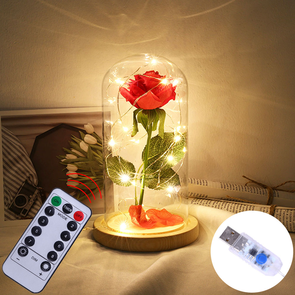 Remote Control 8 Modes With Timer USB Powered LED Night Light Beauty Red Rose Gift For Valentine's Day Wedding Anniversary D30