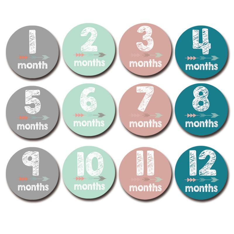 12pcs/set Month Sticker Card Newborn Baby Growth Memorial Milestone Cartoon Alphabet Skills Sticker Funny Photo Props
