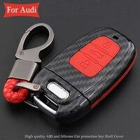 3 düğmeli uzaktan araba anahtarı durum seti çantası karbon Fiber ABS kalp kabuk silikon kapak için Audi A4 A4L A6 a6L A5 A7 A8 S5 S6 S7 Q5 Q7