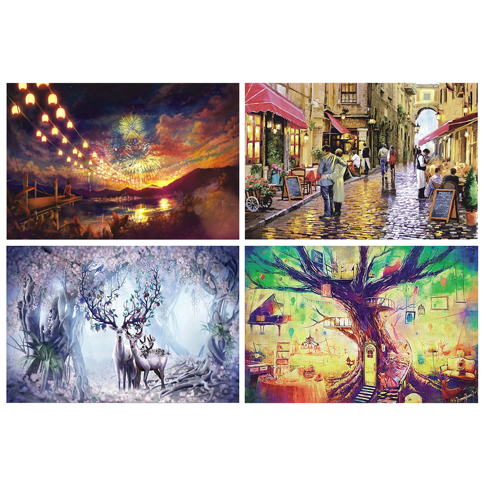 75x50pcs 1000 Pieces Puzzle Jigsaw DIY Paper Autumn Street Scenery Jigsaw Educational Toys For Adults Child Decompression Toys
