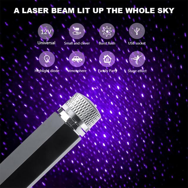 Mini LED Car Roof Star Night Light Projector Atmosphere Galaxy Lamp USB Decorative Lamp Adjustable Car Interior Decor Light 4