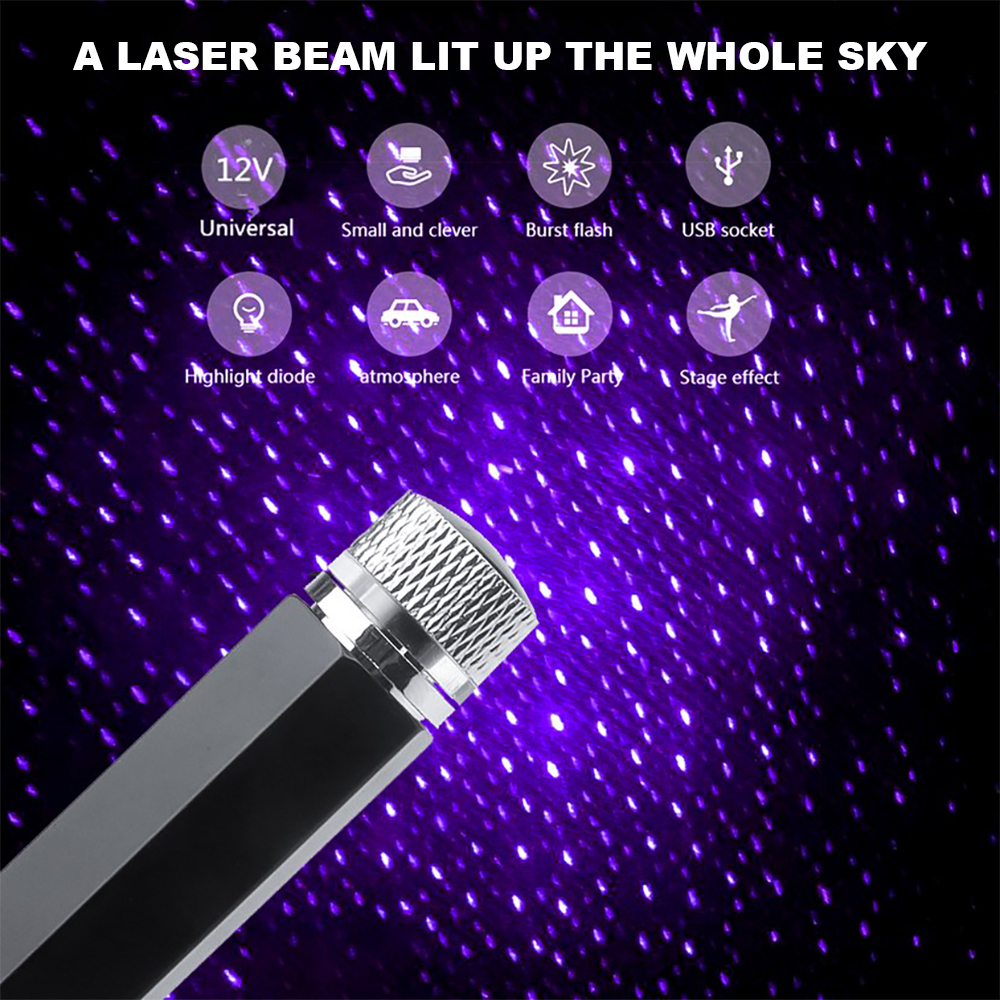 Mini LED Car Roof Star Night Light Projector Atmosphere Galaxy Lamp USB Decorative Lamp Adjustable Car Interior Decor Light