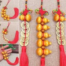 1 adet kırmızı çin Feng Shui şanslı Charm çince düğüm antik sikke kabak kolye servet ve iyi bir servet araba dekorasyon