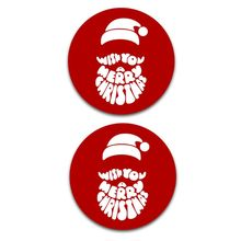 Christmas mouse pad, round non-slip rubber red and white