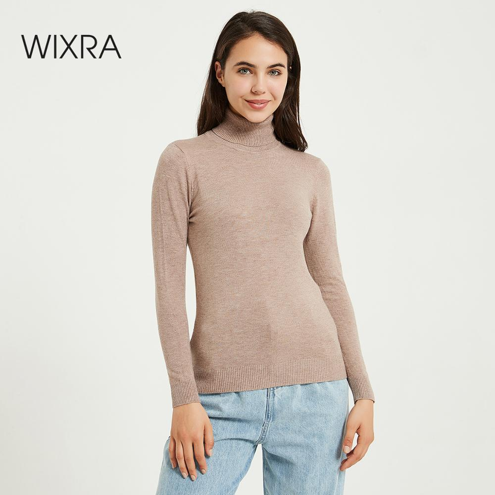Wixra Knitting Sweater and Jumper Turtleneck Tops Pullovers Casual Sweaters Womens Long Sleeve All-match Elastic Sweater(China)