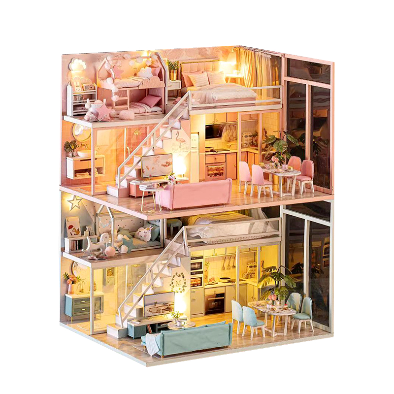 DIY Doll House Wooden Doll Houses Miniature Surprise Dollhouse Furniture Kit With LED Toys For Children Birthday Christmas Gift