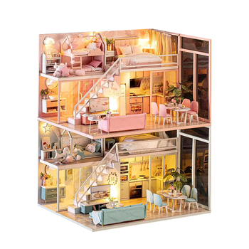 DIY Doll House Wooden Doll Houses Miniature Surprise Dollhouse Furniture Kit With LED Toys For Children Birthday Christmas Gift сумка wooden houses w302 2014