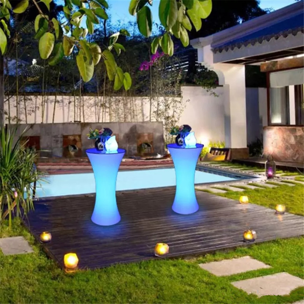 Creative Colorful LED Cocktail Bar Table Plastc KTV Coffee Table Remote Control Color Change  Commercial Furniture Supplies