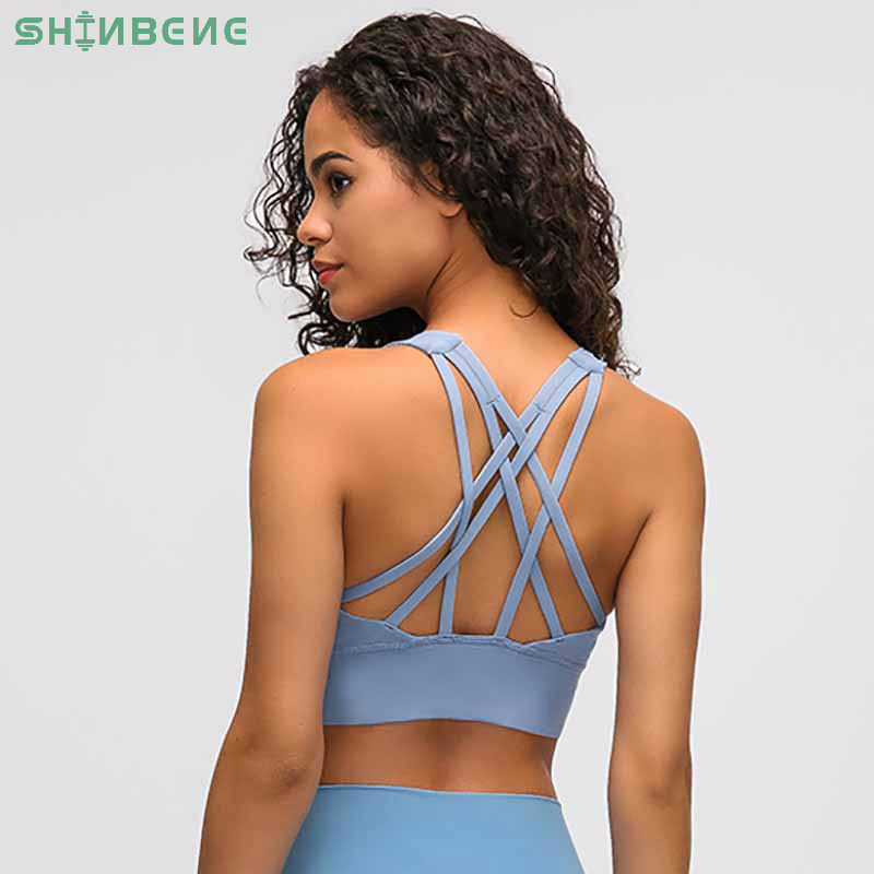 SHINBENE Naked-feel Fabric Anti-sweat Pro Training Yoga Fitness Bras Crop Tops Women Push Up Shockproof Running Sports Bras Top