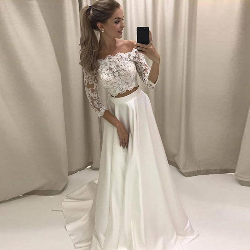 Two Pieces Wedding Dress 2020 Strapless Lace Satin Boho Wedding Gown With Half Sleeve A-Line Custom Made Beach Bride Dress