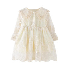 Kids Girls Lace Princess Dress Spring Fashion Toddler Girls Full Sleeve Peter Pan Collar Embroidery Party Dress Baby Dress 2-8Y