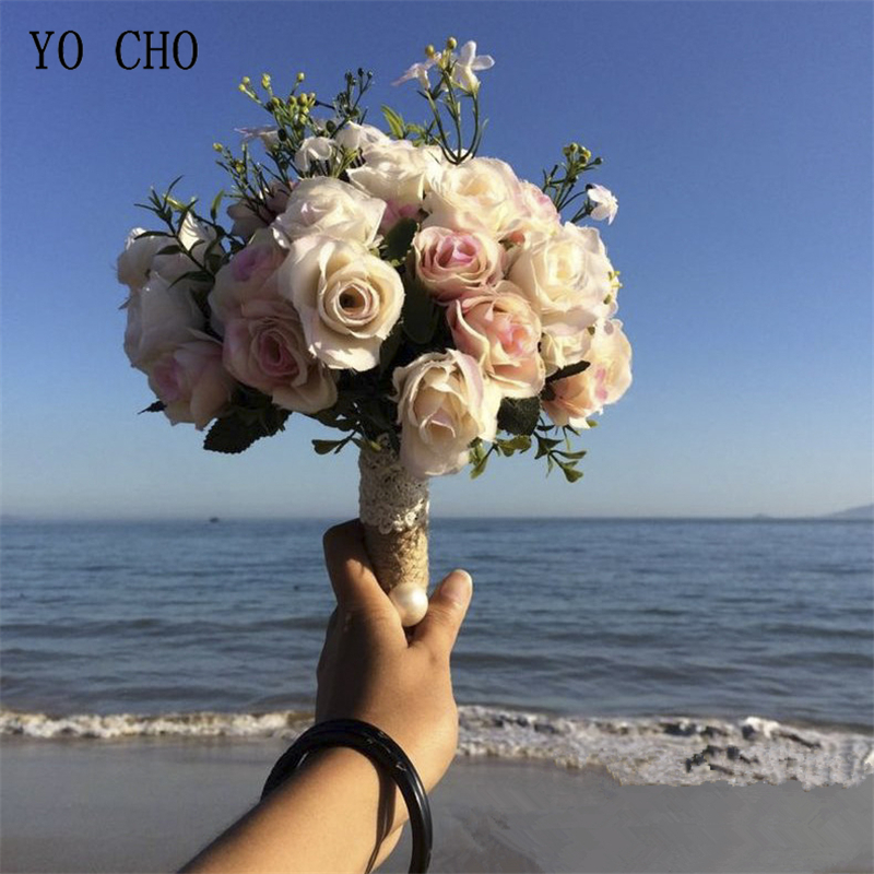 YO CHO Flower Bouquet Artificial Silk Rose Dahlia Fake Flower Wedding Bride Sister Bouquet Home Party Prom Wedding Decorations