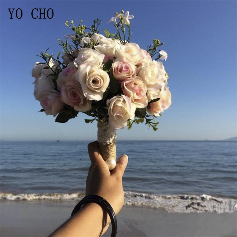 YO CHO Flower Bouquet Artificial Silk Rose Dahlia Fake Flower Wedding Bride Sister Bouquet Home Party Prom Wedding Decorations