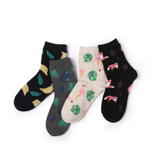 2019 Beautiful Ins Wind Flamingo Creative Illustration Socks Personality Ladies Fruit In The Tube Explosion Models
