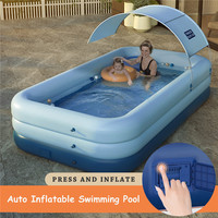 Outdoor Inflatable Swimming Pool Toys for Kids and Adults Auto Pump Up Kiddie Pool for Family Garden Summer Water Party Game