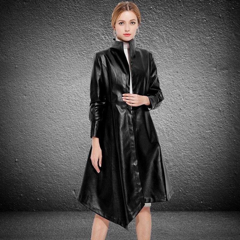 Black Faux Leather Jacket Women long Slim Windbreaker With Belt Sex European 2020 Autumn Pls Size Overcoat LX2020