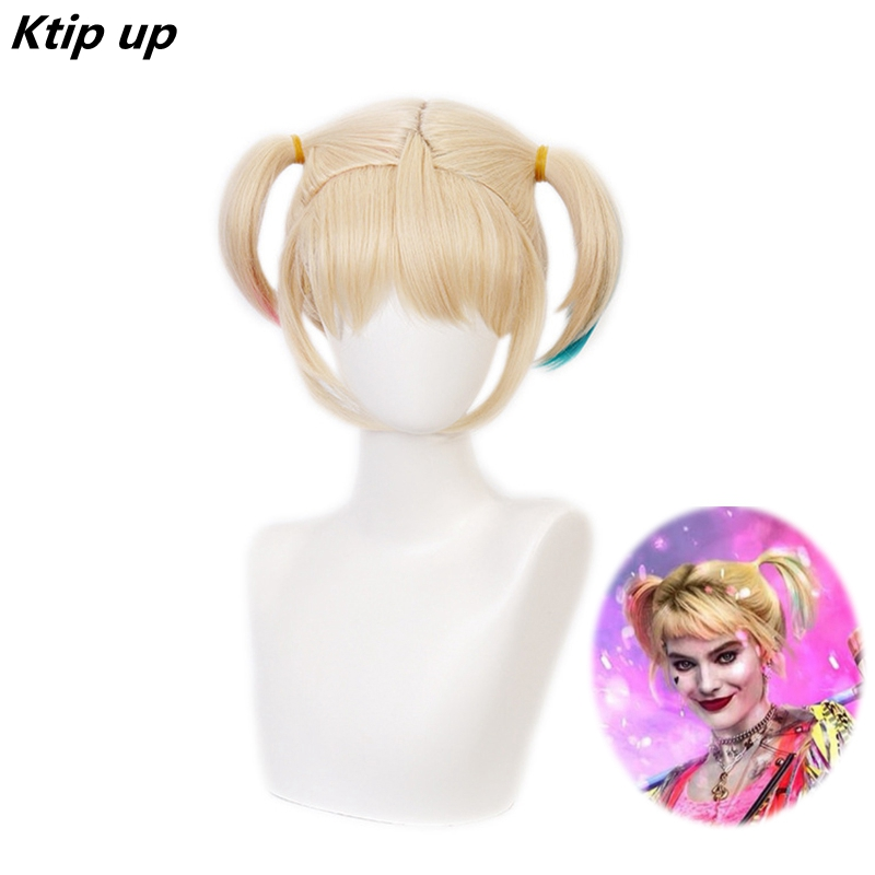 Ktip Up Birds Of Prey Harley Quinn Ponytail Wig Cosplay Costume Heat Resistant Synthetic Hair Harleen Quinzel Carnival Wigs