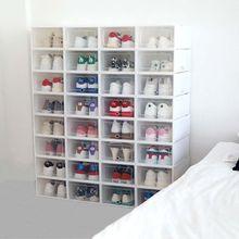 6 قطعة صندوق من البلاستيك للأحذية تكويم طوي أداة تنظيم الأحذية درج حقيبة للتخزين مع التقليب واضح باب السيدات الرجال 31.5x21.5x12.5cm