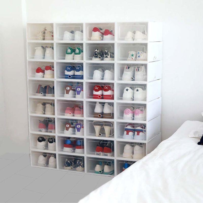 6Pcs Plastic Shoe Box Stackable Foldable Shoe Organizer Drawer Storage Case With Flipping Clear Door Ladies Men 31.5x21.5x12.5cm