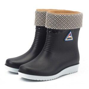 Image 5 - 2019 wasserdichte Winter Schuhe Frau Mode Rain Warme Plüsch Anti slip Damen Arbeit Stiefel Slip Auf Plattform Botas Mujer SH09241