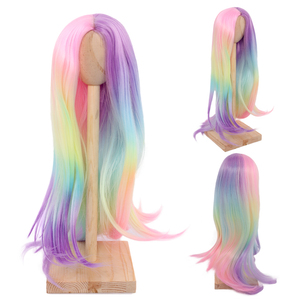 1/3 1/4 Bjd doll wig High Temperature Fashion Long rainbow Straight and curly Bjd Wigs SD For BJD Doll