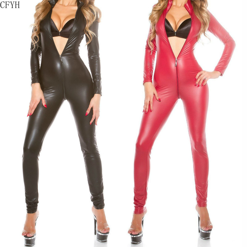 Plus Size <font><b>5XL</b></font> Faux Leather Wetlook Sexy Lingerie Hot <font><b>Catsuit</b></font> Women Full Body Pantyhose Long Jumpsuits Latex Vinyl Clubwear image