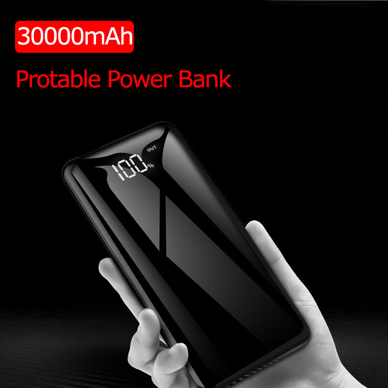 New Ultrathin 30000mah Power Bank Portable Charger External Battery Powerbank Powerbank LCD Full Screen Mirror For Mobile Phone