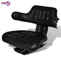 Сиденье для трактора vidaXL со спинкой и подлокотниками продольная Регулировка черного цвета со скользящей прочным водонепроницаемым чехлом