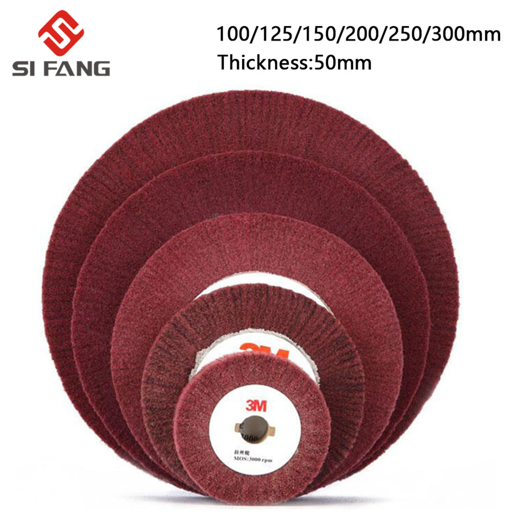 4''/5''/6''/7''/8''/10''/12'' Non-woven Scouring Pad Grinding Wheel Red Flap Mop Polishing Wheel Disc 20mm Bore Thickness 50mm