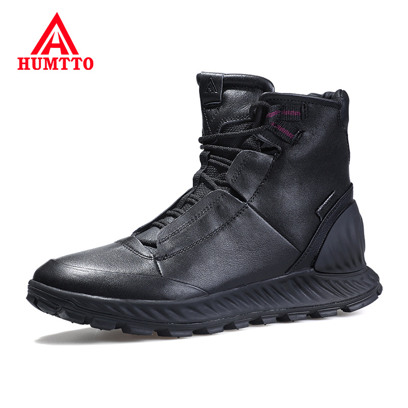 Outdoor Non-slip Sneakers Fashion Casual High-top Mens Shoes Waterproof Genuine Leather Shoes Men Size 39-45