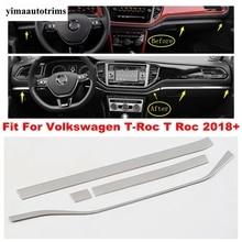 Für Volkswagen T Roc T Roc 2018   2021 Zentrale Steuerung Dekorative Abdeckung Streifen Trim Silber Farbe Edelstahl refit Innen