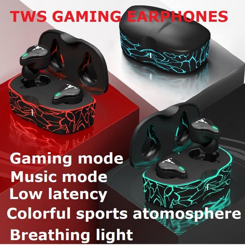Игровые наушники TWS с низкой задержкой, 60 мс, игровые Bluetooth наушники с микрофоном, Спортивные Беспроводные гарнитуры для android Huwei xiaomi PKi90000