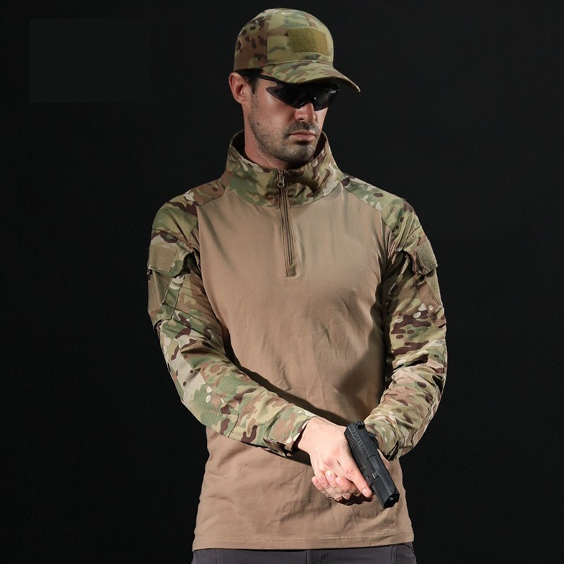 H64904b07d33f41c38a0b45b839dff268V - Men Outdoor Tactical Military Hiking T-Shirts Male Army Camouflage Long Sleeve Sports Shirt Breathable Hunting Fishing Clothes