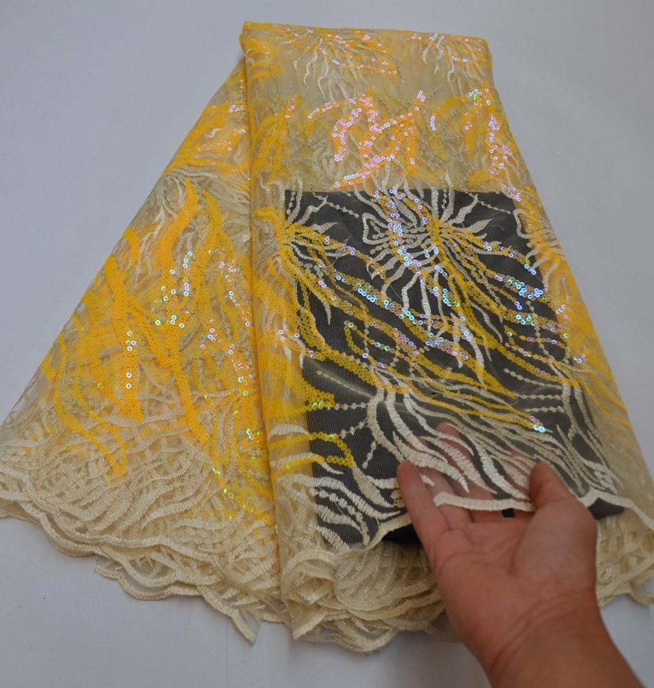 àTop SaleLace-Fabrics Sequence Nigerian African Pink Embroidery Mesh Wedding-Net Flower-Pattern