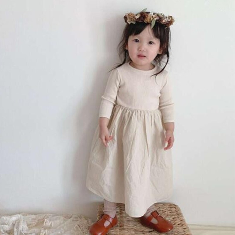 Children Dresses Autumn New Kids Dresses Puff Sleeve Sweet Girl Princess Dress Baby Girl Clothes Simple Casual Girls Dress Leather Bag