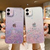Funda de TPU suave con purpurina y lentejuelas para iPhone, carcasa suave con gradiente de arcoíris para teléfono móvil iPhone 12 11 Pro Max XS Max XR X 7 8 Plus 12 Mini SE 2