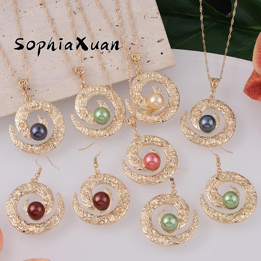 SophiaXuan New Design Hawaiian Earing Jewelry Sets Trendy Pendants Green Pearl Round Earrings Necklaces Set Wholesale for Women