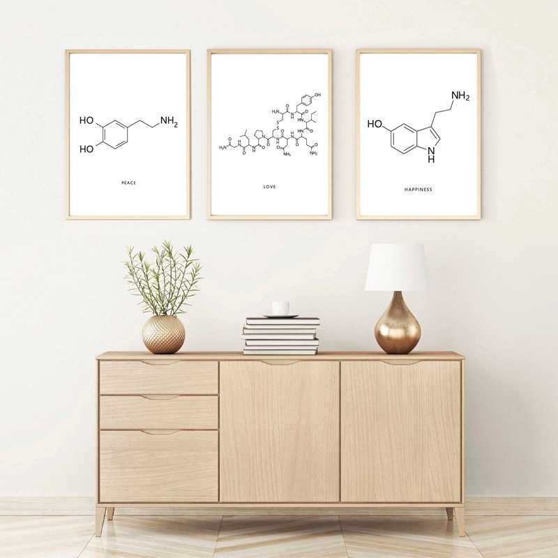 Peace Love Happiness Molecule Wall Art Canvas Poster Print Dopamine & Oxytocin Art Painting Picture Chemistry Science Decor Gift