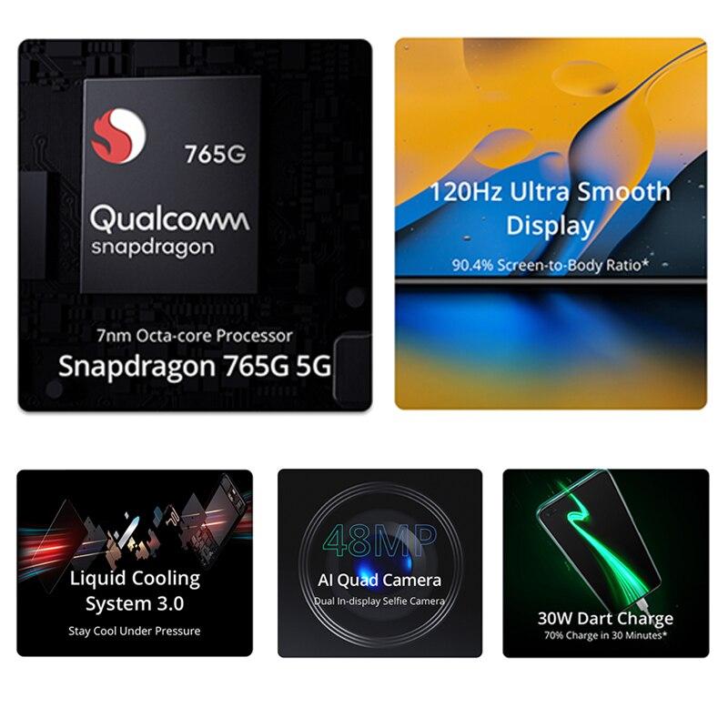 Global Version realme X50 X 50 5G 6GB 128GB 6.57'' Smartphone Snapdragon 765G 120Hz Ultra Display 48MP Quad Cams Cellphone 30W