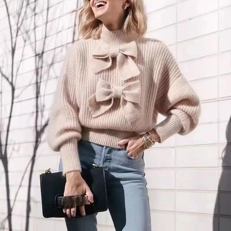 Women Crop Sweater Top 2019 Autumn Bows Half Turtleneck Long Sleeve Knitted Pullovers Sweaters Runway Ladies Jumper