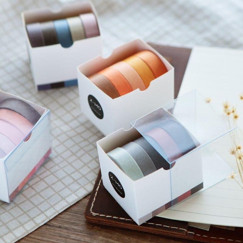 5 Pcs/lot Rainbow Washi Tape Set Masking Tap Solid Color Masking Washi  Paper Tape Adhesive Printing Scrapbooking Decoration