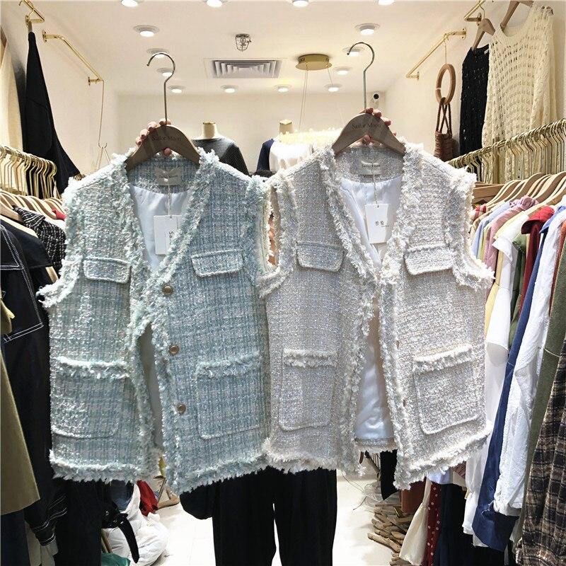 2019 Fashion Early Autumn New Wool Single-row Buckle Nail Bead Sleeveless Pocket Decoration Coats Jackets Women's Clothing Vests