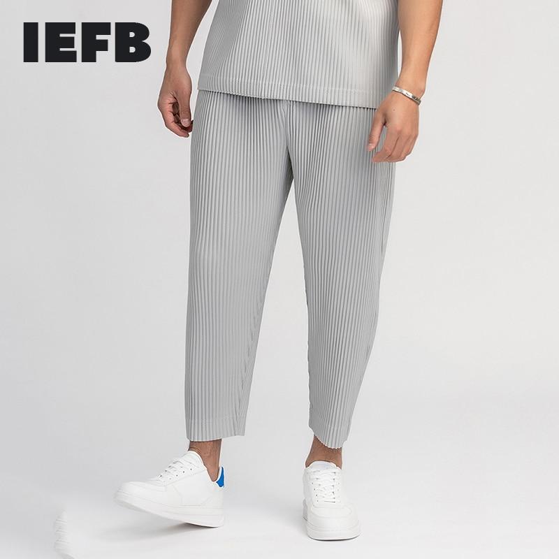 Мужская одежда IEFB, плиссированные брюки для мужчин, в японском стиле из тонкой эластичной ткани, Свободные повседневные брюки до щиколотки ...
