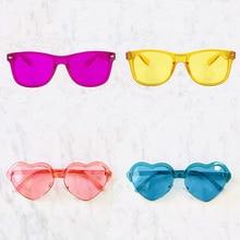 10 шт Упаковка конечной/в форме сердца цветотерапия очки, 10 уникальных цветов линзы для женщин и мужчин солнцезащитные очки