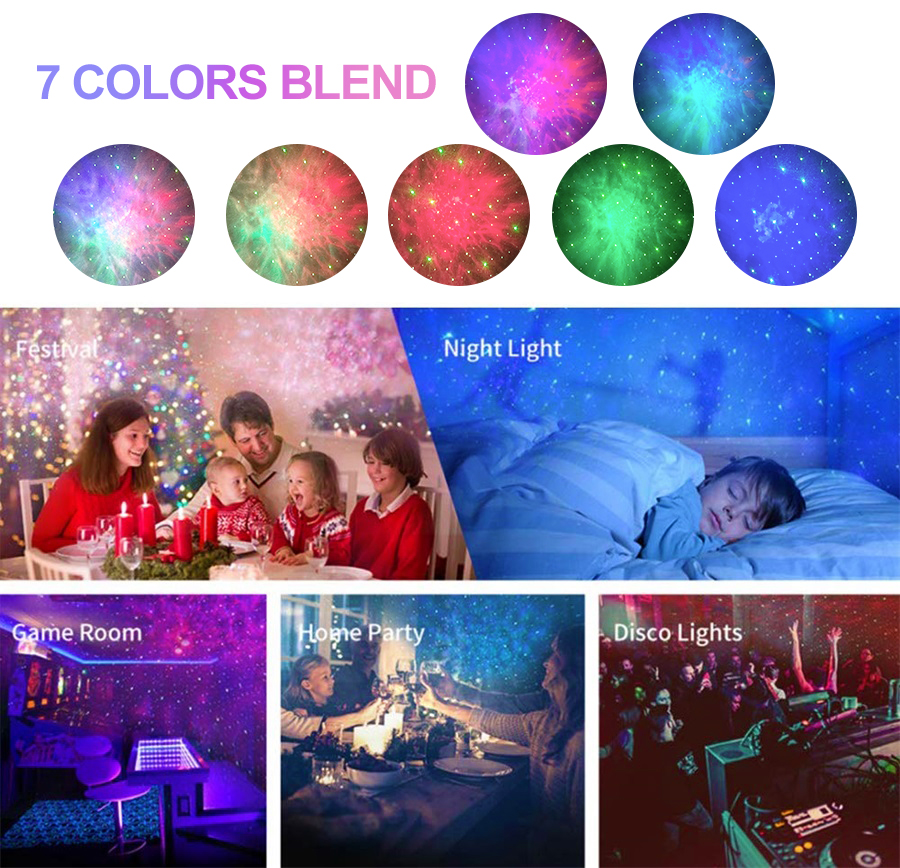 Laser Galaxy Starry Sky Projector Rotating Water Waving Night Light Led Colorful Nebula Cloud Lamp Atmospher Bedroom Beside Lamp