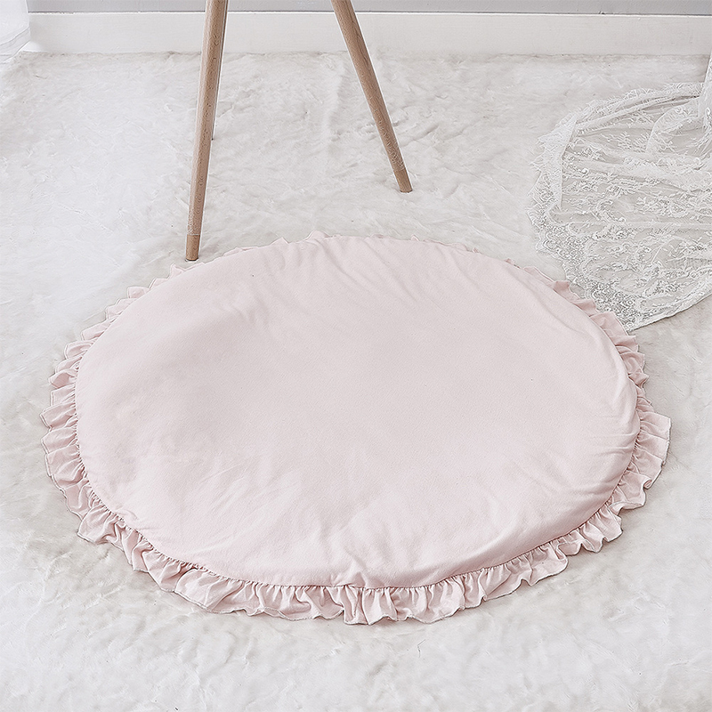 Nordic Kids Play Mat Cotton Round Gym Rugs Pink White Play Mat For Gym Cotton Unicorn Rugs Floor Carpet For Kids Room Decor