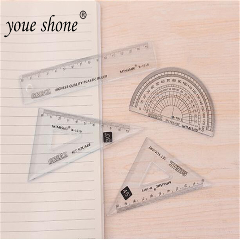 4pcs = 1 Set Of Simple Wind Small Fresh Set Ruler Senior Student Drawing Set Ruler Student Four-piece Set Ruler Triangle Ruler