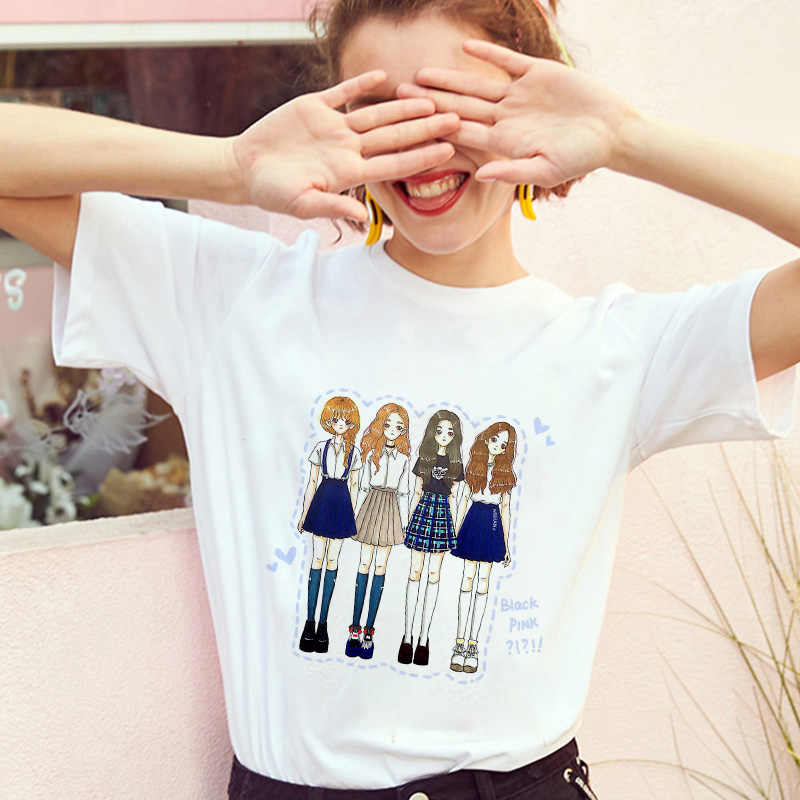 Jisoo jisoo jennie rosa 90s tshirt moda feminina topo camiseta feminino ullzang lei descamado kpop blackpink matar este amor t camisa harajuku